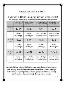Single Page poster for Extended Hours Spring 2013