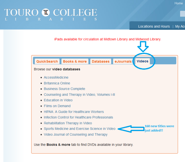 List of video databases available at www.tourolib.org