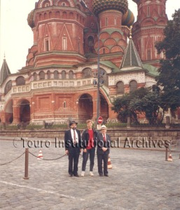 Dean Boylan (left) in Moscow in 1990 for the opening of the Lander Institute.
