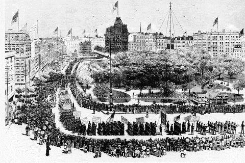 Illustration- New York's First Labor Day Parade, Union Square, 1883. Credit- Robert F. Wagner Labor Archives