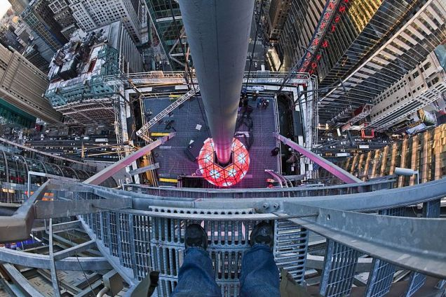 Preparing for the big drop - the Times Square ball, as seen from above (CC image via Wikimedia)