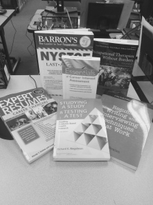 Sample of career books available in the Bay Shore library print collection.