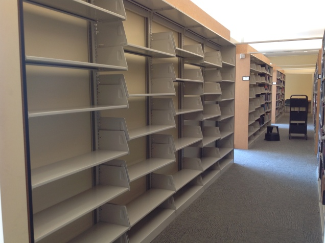 Empty books shelves—but not for long!