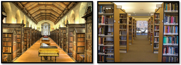 Libraries, from medieval to modern (Old Library at St. John's Cambridge and Touro Kew Garden Hills)