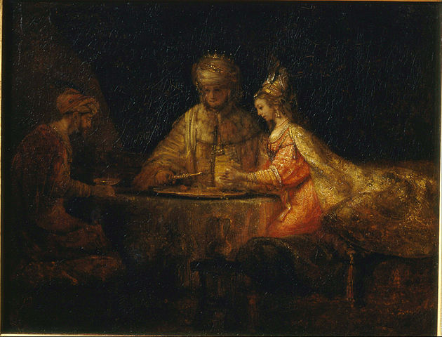 Image courtesy of WikiMedia Commons. Ahasuerus and Haman at Esther's Feast, by Rembrandt, File:Rembrandt Harmensz van Rijn - Ahasuerus, Haman and Esther - Google Art Project.jpg, Uploaded by DcoetzeeBot.