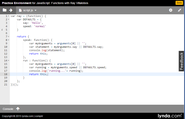 Start writing code quickly and easily with Lynda's online practice environment
