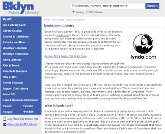 Bklyn Lynda access page