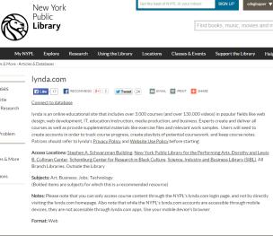 NYPL Lynda access page