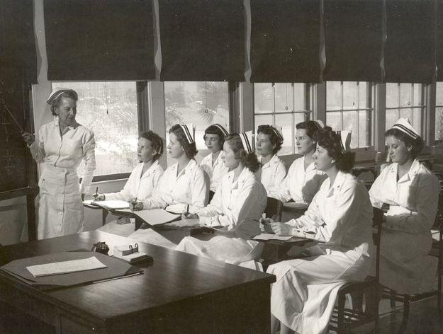 Nursing school of yesteryear (Navy nurses attending class - 1940s)