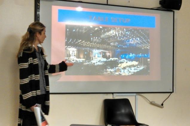 Irina Dovbnya shows the venue for her book event celebrating Russian author Yevdokiya Luchezarnova