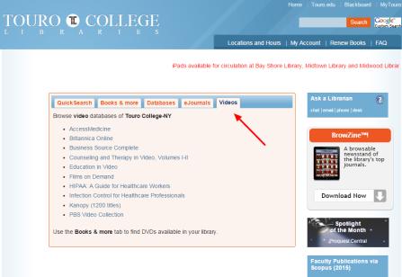 Videos tab on homepage