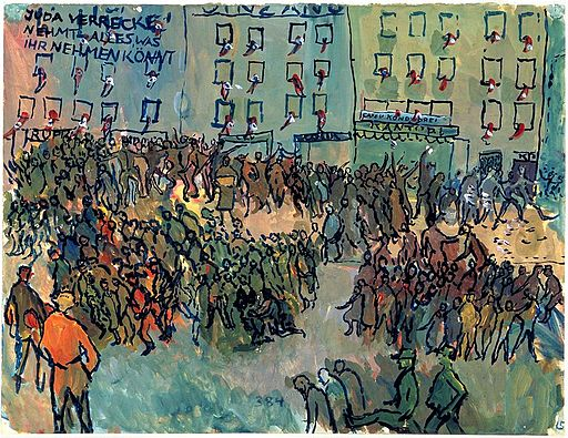 Gouache painting by Charlotte Salomon depicting Kristallnacht, a series of coordinated attacks against Jews throughout Nazi Germany on 9–10 November 1938 (via Wikimedia).
