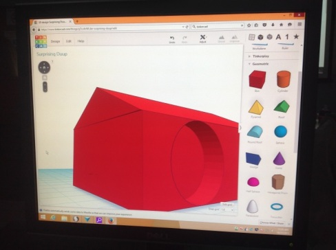 A birdhouse design created in class by using the shapes on the toolbar on the right side of the screen.