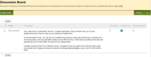 Blackboard discussion forum hosted by an embedded librarian