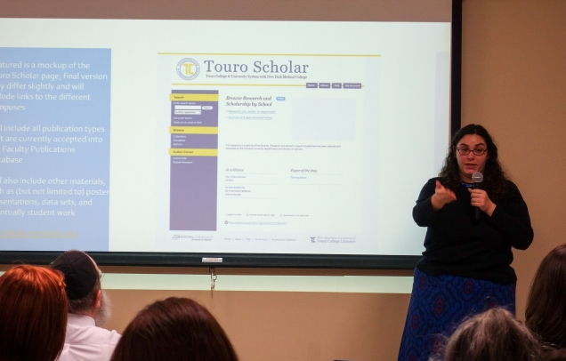 Carrie Levinson presenting the mock-up for the new Touro Scholar digital respository