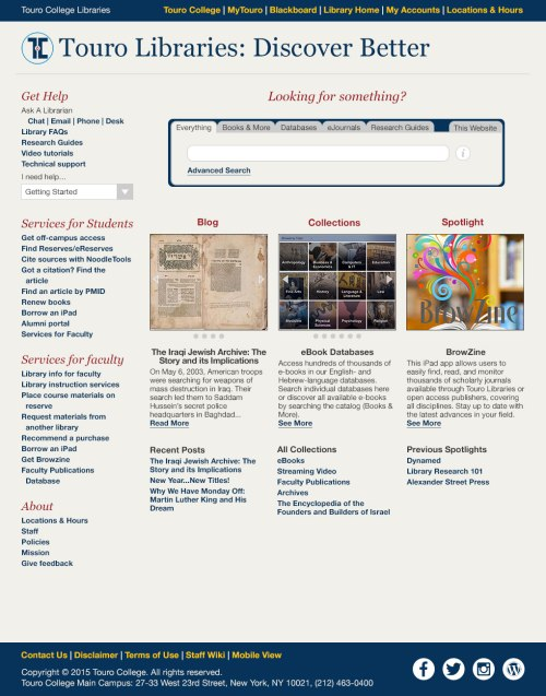 first library website design