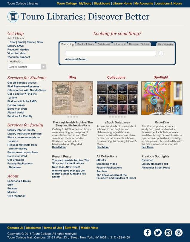 first library website design