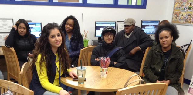 Starrett City students before a library orientation