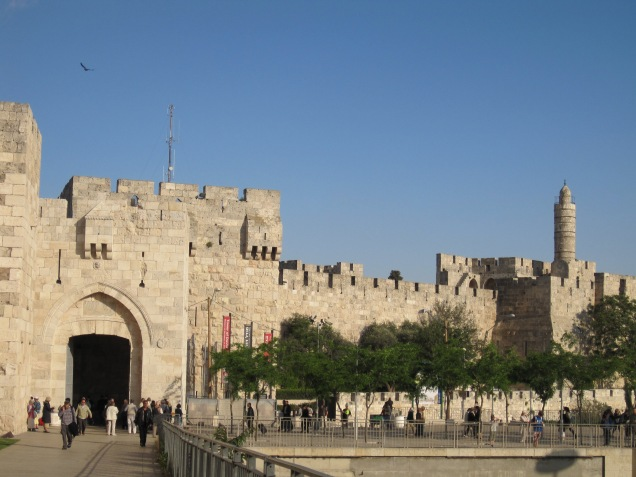 View of Jaffa Gate (left) and the Tower of David (right) (CC image by Yoninah)