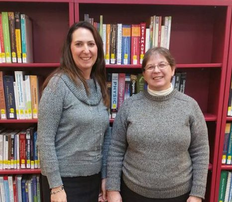 Two Bay Shore librarians looking forward to answering your queries! Sdf9 sdjka;f