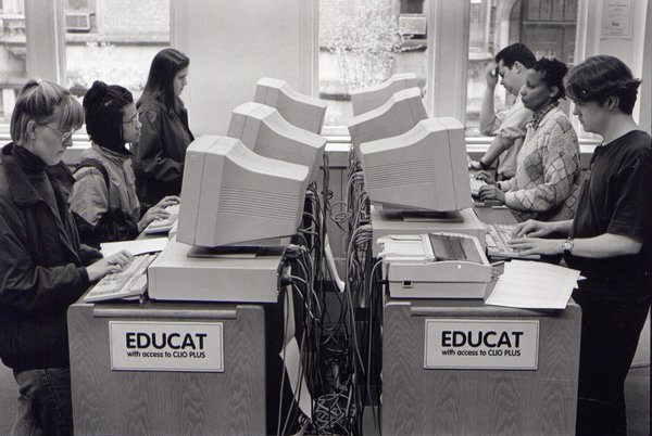90s students at the Gottsman Library, Columbia Teacher's College