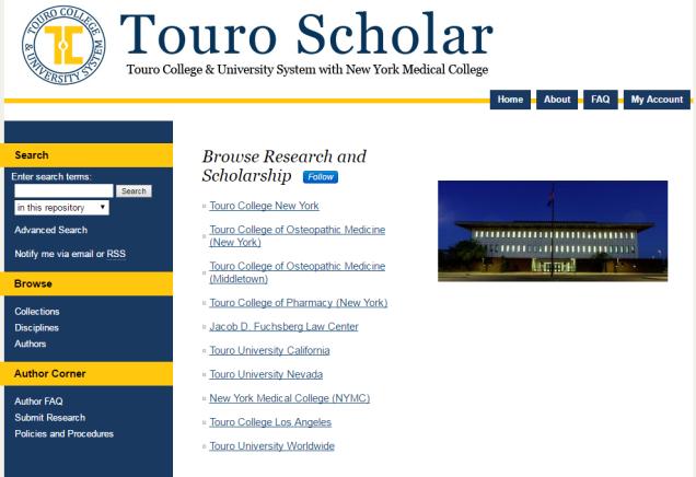 A glimpse of Touro Scholar