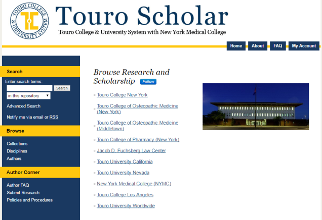 A glimpse of Touro Scholar
