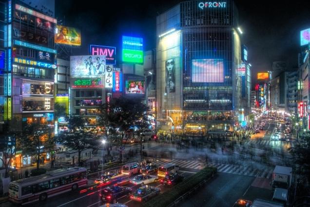 Shibuya, Tokyo at night (CC0 image via Wikipedia)