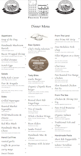 Current menu from Fraunces Tavern