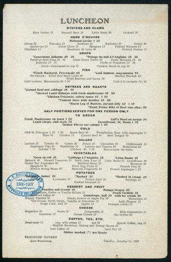 Fraunces Tavern menu from 1907