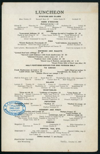 Fraunces Tavern menu from 1907