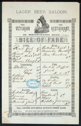 Lager Beer Saloon Menu, 1900