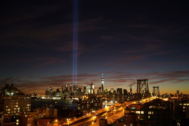 Lights representing Twin Towers in cityscape