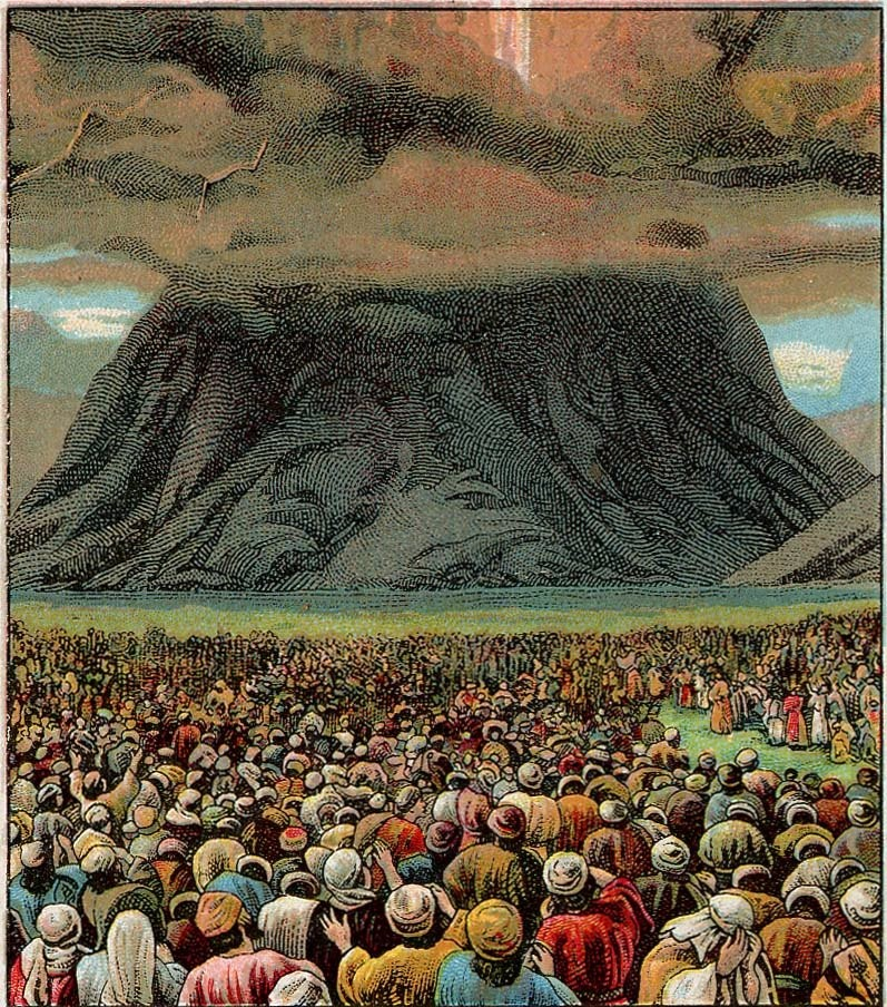 illustration of crowd of people looking at mountain