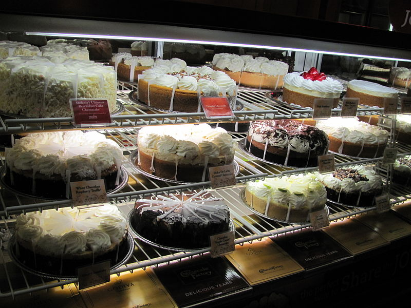 cheesecakes in a bakery display