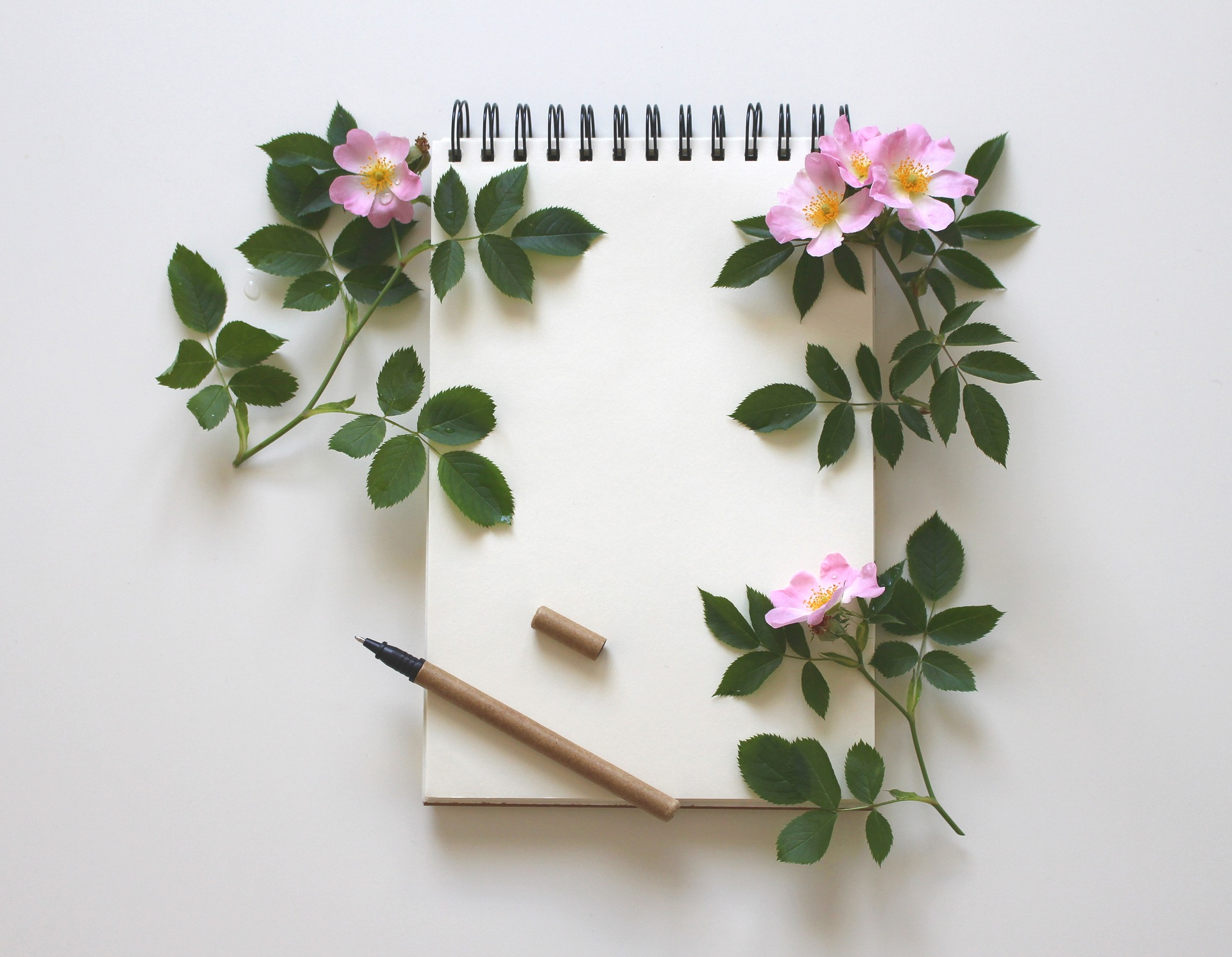 blank journal with flowers