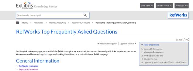 screenshot of refworks