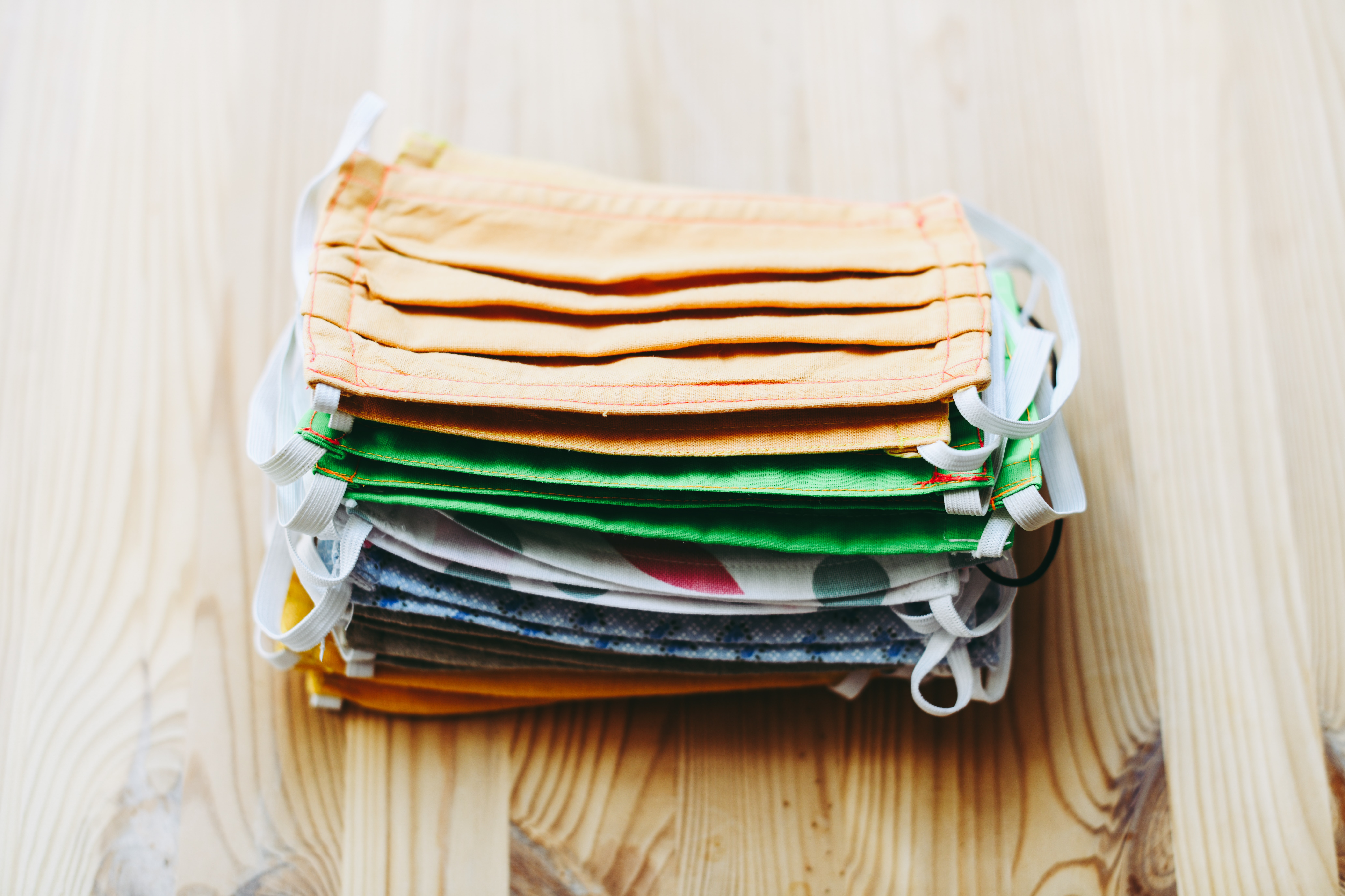 a stack of fabric face masks